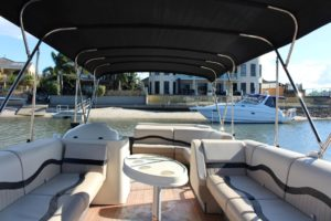 Luxury pontoon boat interior
