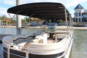 Luxury pontoon boat interior shot