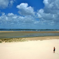 At low tide the sand is exposed, high tide gives you knee deep water, perfect for a paddle!