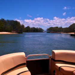 Our hire boat looking towards the broadwater