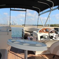 Luxury pontoon boat hire interior