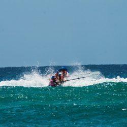 Smashing through the waves